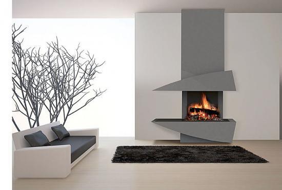 Chemin e ouverte avec r cup rateur foyer berman double feu - Peinture pour hotte de cheminee ...